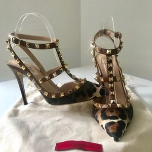 Valentino Rockstud Calf Hair Sandals - NEW